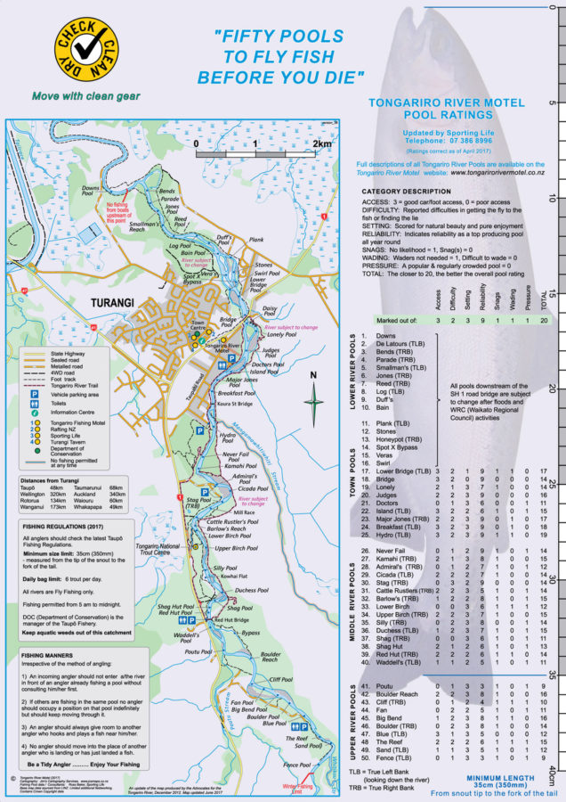 New tongariro river maps for anglers tongariro river motel for Colorado fly fishing map